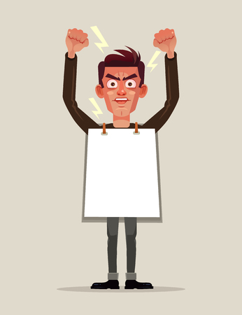 Angry man protestor, employee, employee, demonstrator, holding, banner, poster, placard and screaming shouting. Riot conflict demonstration public protest revolution and fight for rights concept. Vector flat cartoon graphic design isolated illustration Illustration