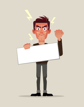 Angry man protestor with blank placard vector illustration Иллюстрация