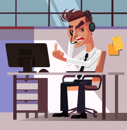 Angry mad frustration office worker manager manager man character tired and anger showing obscene gesture middle finger. Hard work stress annoyance irritation. Vector flat cartoon graphic design illustration Foto de archivo - 99009142