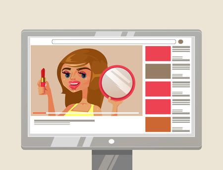 Mujer niña persona, belleza, carácter y cómo hacer con lápiz labial y espejo. Blog en línea contenido del canal de internet video tutorial concepto.