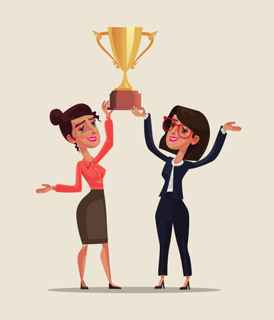 Two happy smiling business woman holding a golden cup together and celebrate victory win triumph. Successful teamwork. Vector flat cartoon graphic design isolated illustration.