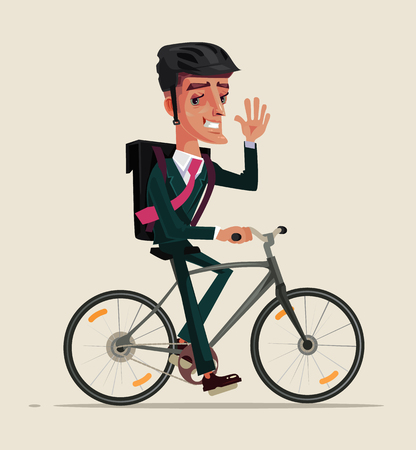 Happy smiling office worker in a business suit riding bicycle and go for work and waving hand. Healthy lifestyle bike cycle concept. Vector flat cartoon graphic design isolated illustration