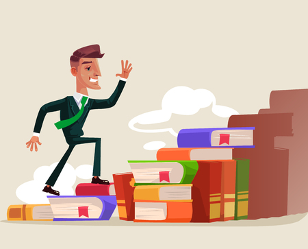 Successful businessman character climbing up on a book stairs. Illustration