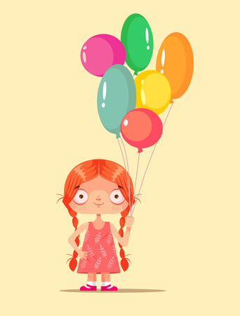 Mascot holding colorful balloons. Happy birthday celebration congratulations kids party. Vector flat cartoon graphic design isolated illustration