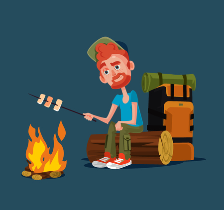 Happy smiling tourist man scout camper character sitting alone at night near bonfire and fry roasting marshmallows. Summer camp. Vector flat cartoon graphic design isolated illustration