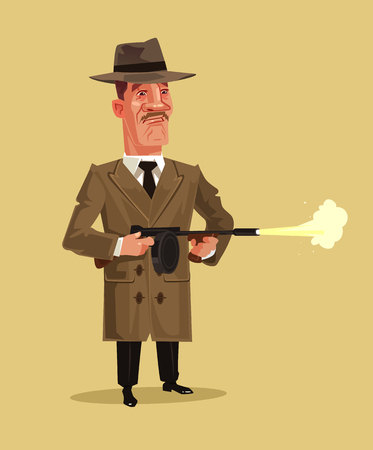 Old school retro gangster mascot character shooting weapon gun. Crime ghetto battle shoot breaking low concept. Vector flat cartoon graphic design isolated illustration.