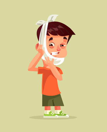 Sad unhappy little boy with holding face expression holding head with hand. Toothache dental pain patient somatology treatment caries. Vector flat cartoon graphic design isolated illustration Illustration