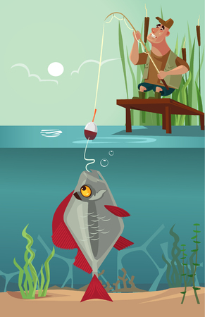 Happy fisherman caught a fish vector illustration Illustration