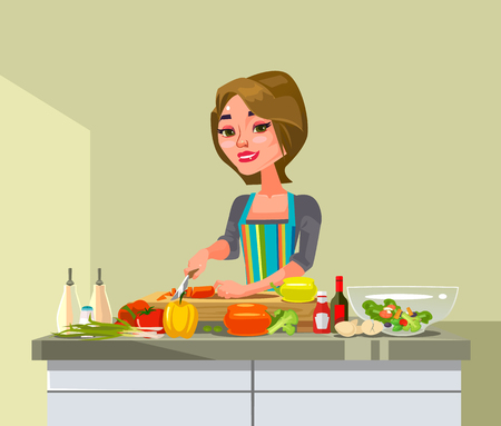 Happy smiling woman. Housekeeping concept. Vector flat cartoon graphic design illustration