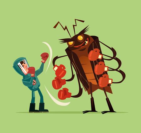 Schädlingsbekämpfungsmannarbeitskraft-Charakterkampf mit großer enormer Monsterwanzen-Mücken-Termite. Ausrottungsmoskito-Servicekonzept. Lokalisierte Illustration des flachen Karikaturgrafikdesigns des Vektors Vektorgrafik