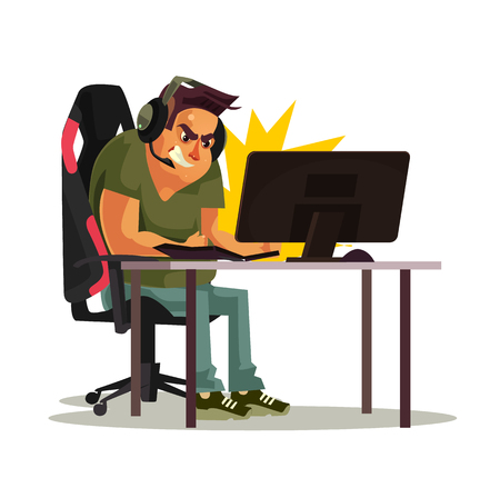 Angry mad gamer, call center operator smash pc keyboard. Fail cyber internet virus ddos ​​error concept. Vector flat cartoon graphic design illustration. Illustration