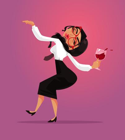 Feliz sonriente mujer borracha divertida empleado de oficina gerente gerente empleado divirtiéndose y beber alcohol vino. Fiesta empresarial corporativa y alcoholismo concepto de adicción al mal hábito Vector de dibujos animados plana diseño gráfico aislado ilustración