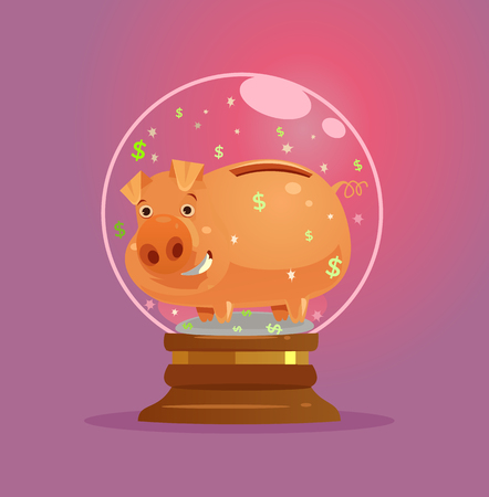 Piggy bank character in glass ball vector illustration