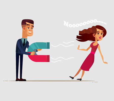 Man trying woman after him in love with magnet and woman resist. Undivided feelings concept Vector flat cartoon isolated illustration