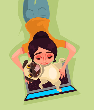 Girl on the beach with a dog. Love animal and modern technology concept Vector flat cartoon illustration Illustration