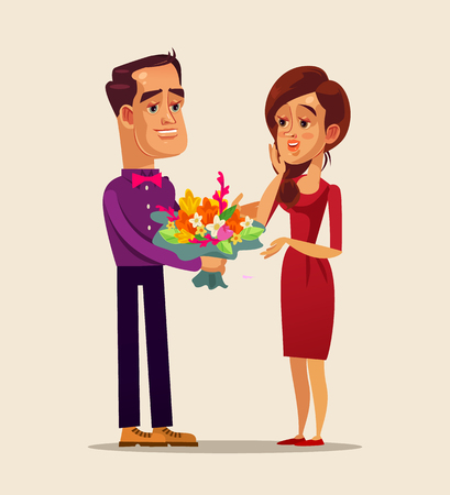 Happy smiling man. Romance dating love boyfriend and girlfriend concept. Vector flat cartoon isolated illustration