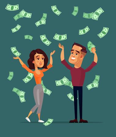 Glücklicher lächelnder erfolgreicher Mann als Lottogewinner. Eine isolierte Illustration des flachen Karikaturdesigns des Vektors