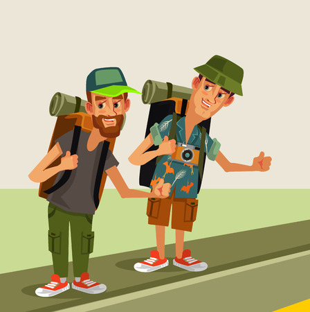 Two hipster man hitch hikers characters with backpack. Travel hitching Vector flat cartoon graphic design isolated illustration