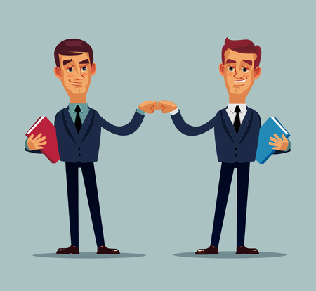 Two happy smiling colleagues. Teamwork career helping hand concept Vector flat cartoon isolated illustration Illustration