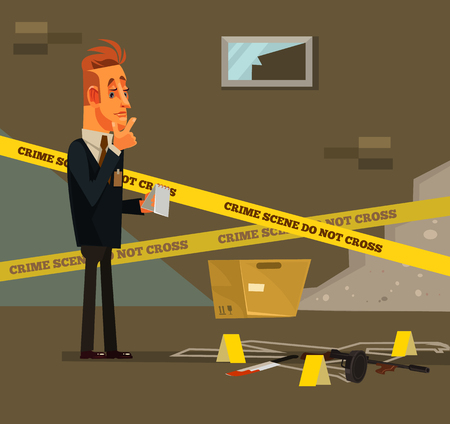 Thinking young modern. Criminal investigate police inspector concept Vector flat cartoon illustration