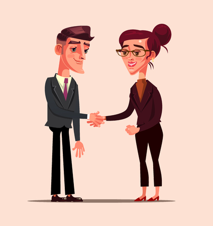 Business office worker. Business people partner deal support concept Vector flat cartoon graphic design isolated illustration