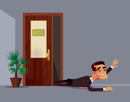 Bad angry boss beat employee office worker man character. Work abuse aggression discrimination concept Vector flat cartoon illustration