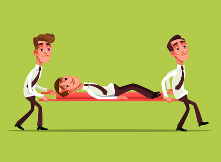 Tired sad businessman office worker characters on stretcher and colleague carry him concept Vector flat cartoon graphic design isolated illustration