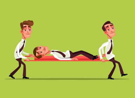 Zmęczony smutny biznesmen znaków pracownik biurowy na noszach i kolega niosą go koncepcja Wektor płaski kreskówka projekt graficzny ilustracja na białym tle Ilustracje wektorowe