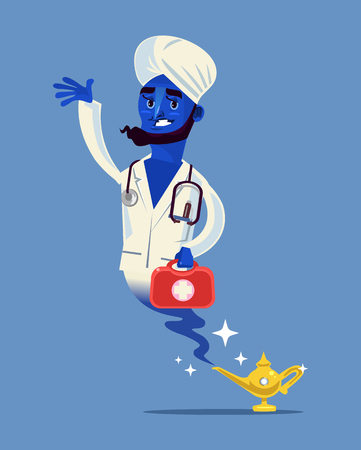 Happy smiling doctor with Magic medicine study hospital healthcare concept Vector flat cartoon isolated illustration Illustration