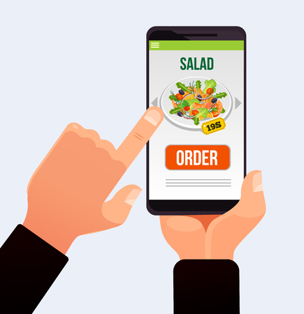 Costumer hand push button on smartphone touchscreen and making order delivery food.