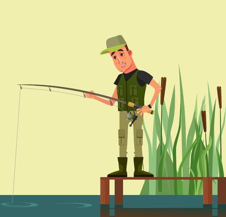Happy smiling man character fishing vector flat cartoon illustration.