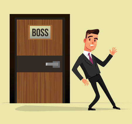 Indecisive office worker man manager vector flat graphic design cartoon isolated illustration.
