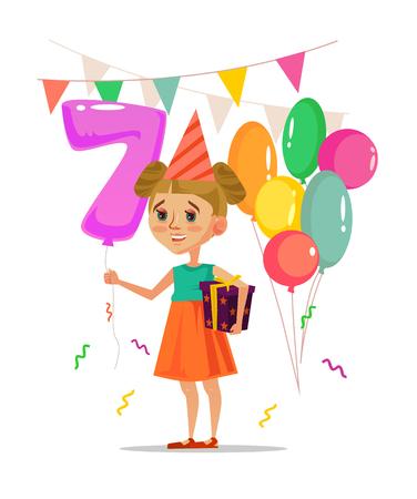 Happy smiling little girl holding gift box, balloons and celebrating happy birthday. Vector flat cartoon illustration