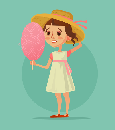 Happy smiling little girl. Summertime spring happy day. Vector flat cartoon illustration