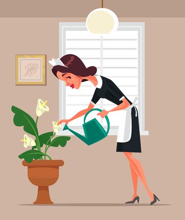 Housemaid woman character watering flowers vector flat cartoon illustration.