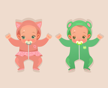Two twins baby child character. Vector flat cartoon illustration Illustration