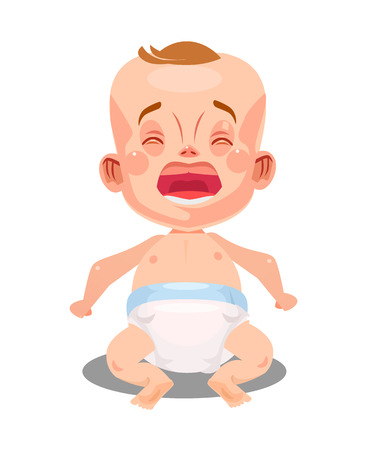Little newborn baby infant crying and screaming. New life concept. Vector flat graphic design cartoon isolated illustration