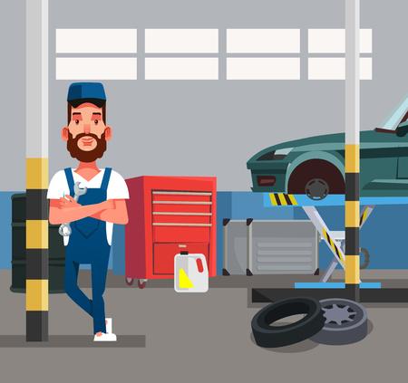 Auto mechanic man worker holding wrench. Car repair diagnostics service garage vector flat graphic design cartoon isolated illustration. Illustration