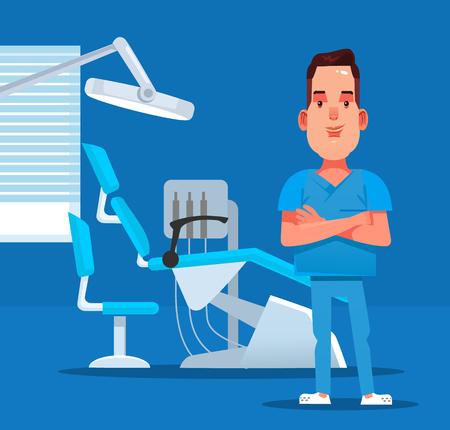 Happy smiling dentist vector flat cartoon illustration.