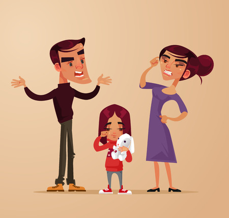 Angry sad girl, family problems vector flat cartoon illustration.