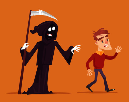 Death character chasing running after scary man mascot. Vector flat cartoon illustration Illusztráció