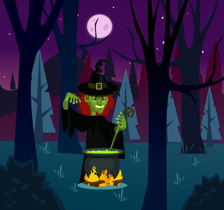 Angry witch woman character brewing potion vector flat cartoon illustration.