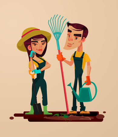 Two gardeners man and woman character vector flat cartoon illustration.
