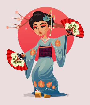 Japanese geisha girl woman character dancing with fans vector flat cartoon illustration. Иллюстрация
