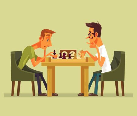 Two thinking smart players. Strategy game checkmate isolated cartoon vector illustration element