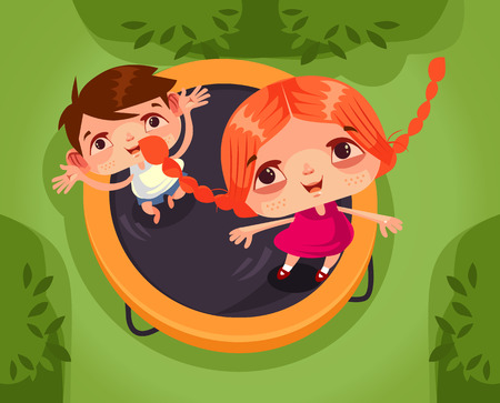 Two happy smiling children, boy and girl, character, jumping, trampoline and having fun. School holidays summer time isolated cartoon vector illustration Ilustração