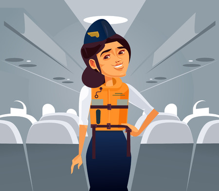 Happy smiling woman stewardess character. Airplane worker holiday travel cartoon flat isolated illustration