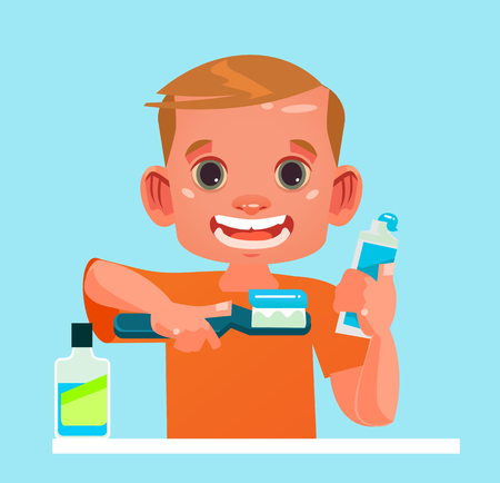 Happy smiling little boy with a tooth brush and toothpaste. Happy morning hygiene flat cartoon isolated vector illustration element
