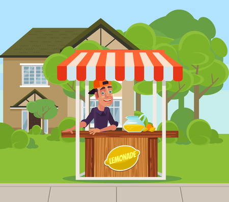 Young boy with lemonade juice on backyard. Summer time holiday vacation relax banner banner cartoon flat illustration