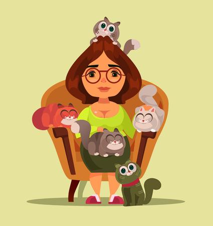 Estereotipo de mujer sonriente feliz independiente sentada en el sofá con muchos animales gatos. Ilustración aislada plana de dibujos animados Ilustración de vector